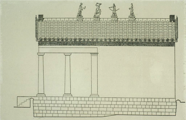 Drawing of the Temple at Veii with figures (from L-R): Turms (Mercury), Hercle (Hercules), Aplu (Apollo) and Letun (Diana) on the ridgepole of the roof