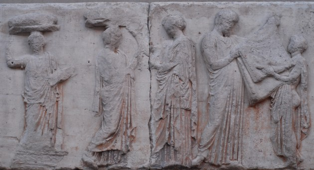 "So-called ""Peplos Scene"" from the Parthenon frieze (panels E31-35). The scene may depict the peplos garment being folded by an Arrhephoros (?) and a chief priest."
