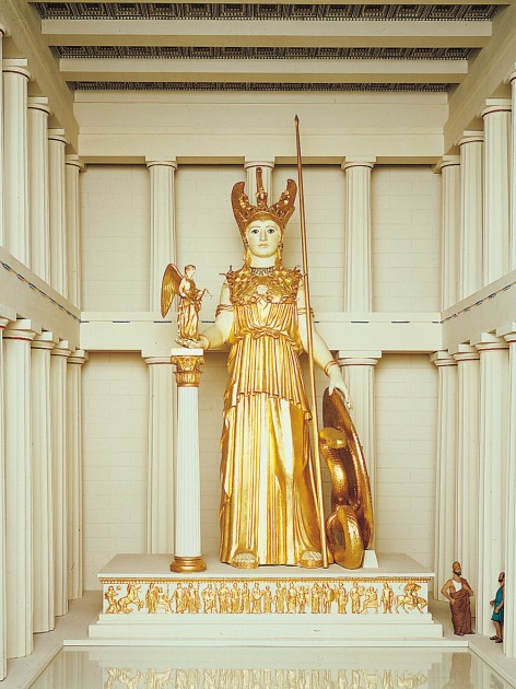 Phidias, model of Athena Parthenos (now lost) within the Parthenon, ca. 438 BC. Statue was approximately 39 feet tall and made of gold and ivory.