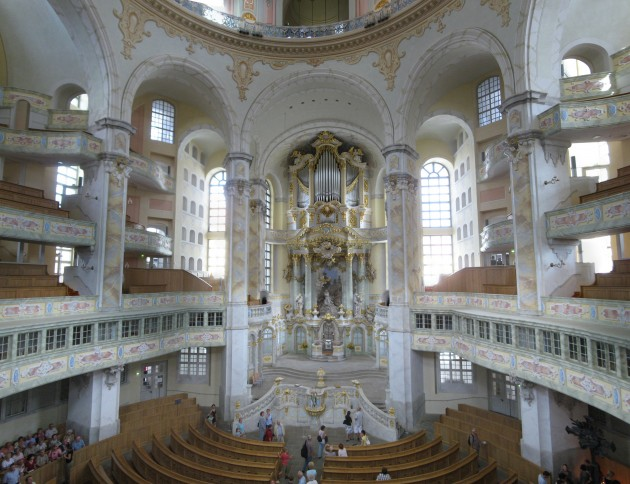 Interior of the Frauenkirche, Dresden. Interior is a 21st-century replica (completed 2005) of the original 18th-century structure (completed 1743).