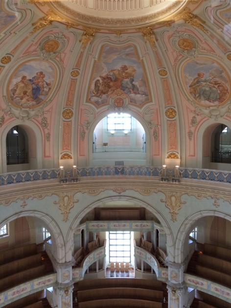 Interior of dome in Frauenkirche, Dresden. Structure completed 2005.