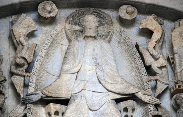 "Detail of Christ from the ""Last Judgment"" tympanum at Autun Cathedral, c. 1120-1130 or c. 1130-1140. Image courtesy Steven Zucker via Flickr (https://creativecommons.org/licenses/by-nc-sa/2.0/; image is unaltered)"