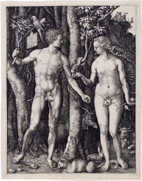 "Albrecht Dürer, Adam and Eve,"" 1504. Engraving"