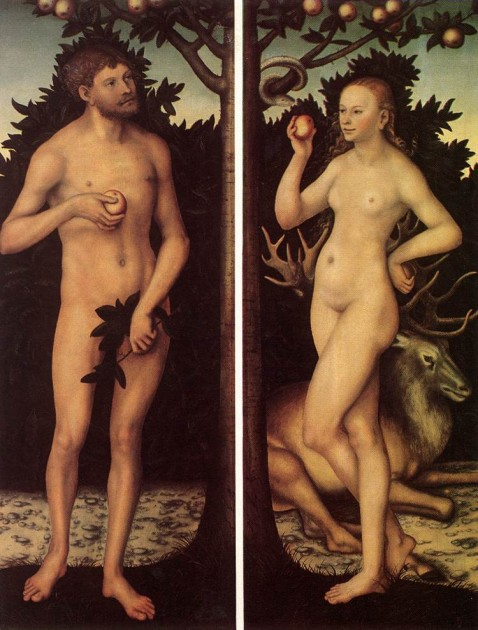 Cranach, Adam and Eve, first half of 16th century, Musées Royaux des Beaux-Arts, Brussels