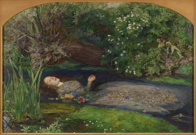 "John Everett Millais, ""Ophelia,"" 1851-52. Oil on canvas, 76 x 112. Tate"