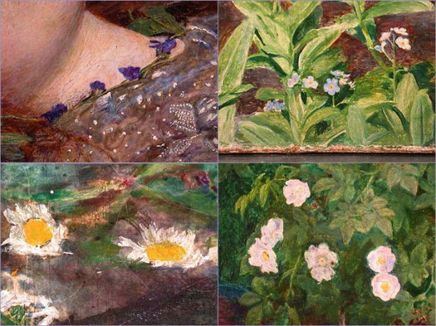 "Millais, ""Ophelia,"" 1851-52 (details of violets, forget-me-nots, daisies, and wild roses)"