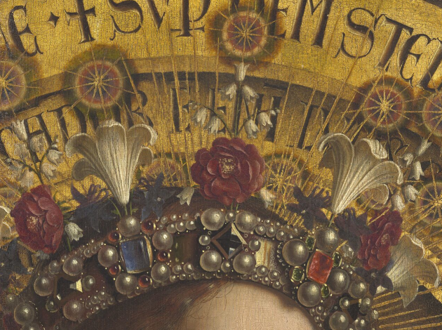 "Jan and Hubert Van Eyck, the Ghent altarpiece (""Adoration of the Mystic Lamb""), detail of the Virgin's crown"