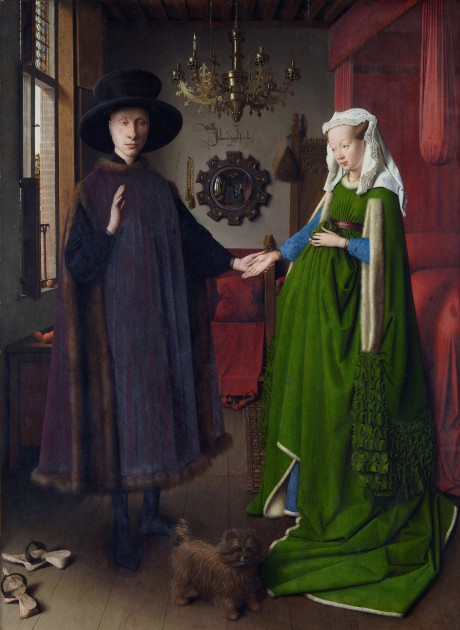 "Jan Van Eyck, ""Arnolfini Portrait, 1434. Oil on panel, 2′ 8″ x 2′ 0″. National Gallery of Art (London)"
