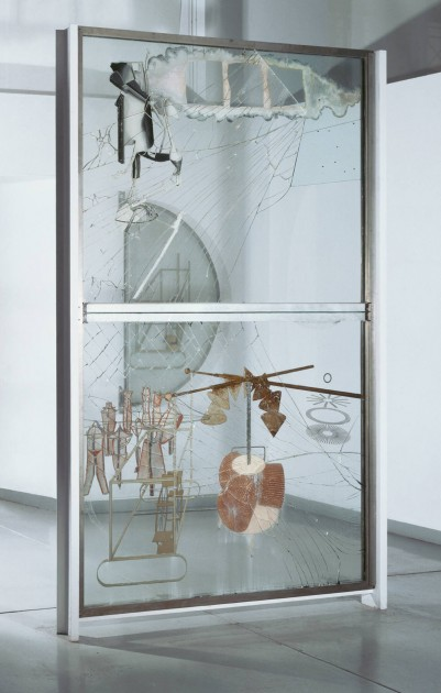 "Marcel Duchamp, ""The Bride Stripped Bare by Her Bachelors, Even (The Large Glass),"" 1915-1923. Oil, varnish, lead foil, lead wire, and dust on two glass panels, 9 feet 1 1/4 inches × 70 inches × 3 3/8 inches (277.5 × 177.8 × 8.6 cm)"