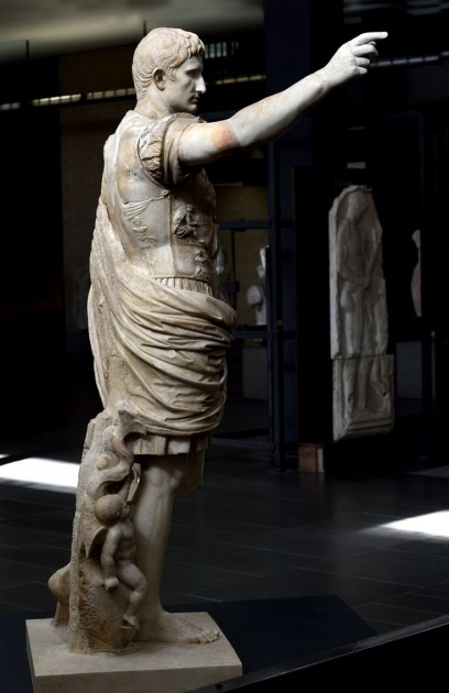 """Augustus of Prima Porta,"" side view, a copy of a bronze statue of c. 20 BCE. Marble, height 6' 8"" (2.03 m). Musei Vatican"
