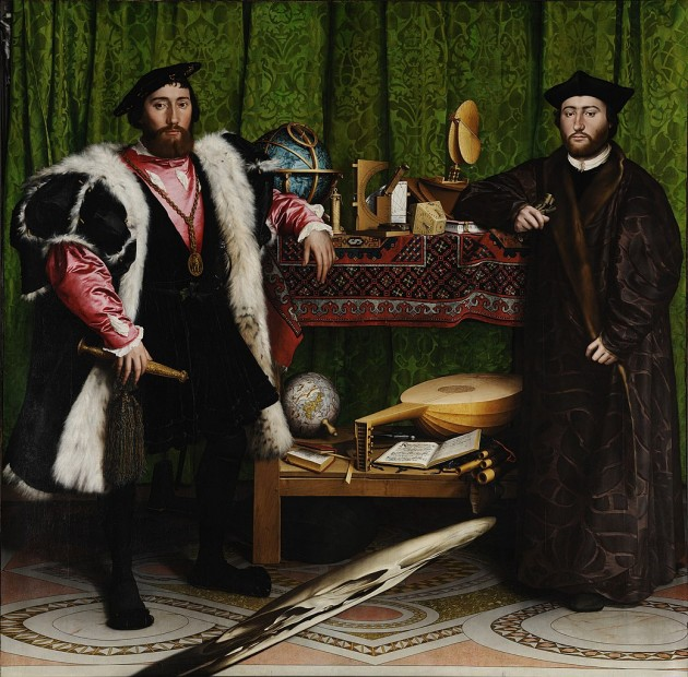 Hans Holbein the Younger, The Ambassadors, 1533. Oil on panel, 207 x 209.5 cm (81.5 x 82.5 in), National Gallery, London
