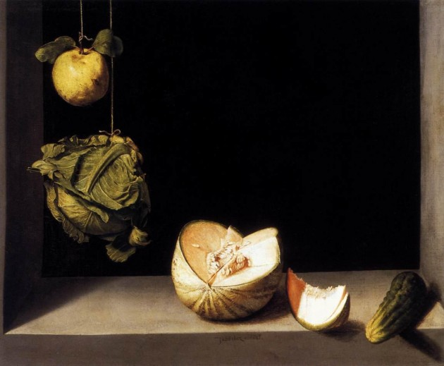 "Juan Sánchez Cotán, ""Quince, Cabbage, Melon, and Cucumber,"" 1602, oil on canvas, 68.9 cm x 84.5 cm (San Diego Museum of Art)"