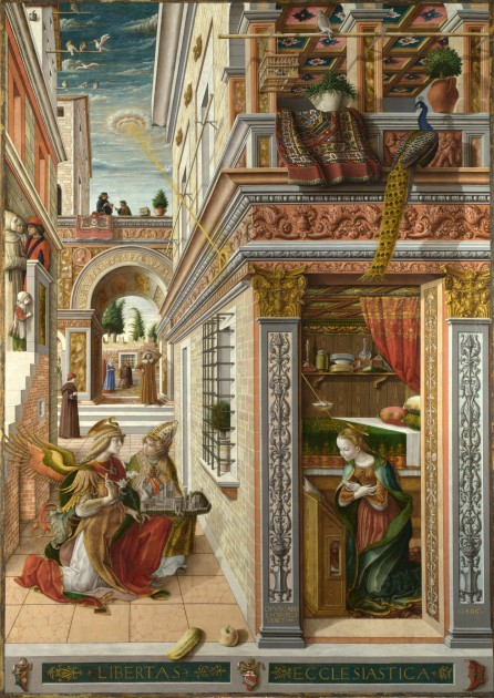 "Carlo Crivelli, ""The Annunciation, with Saint Emidus,"" 1486 (National Gallery)"