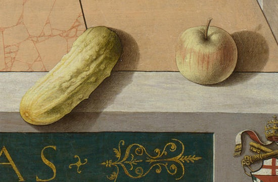 "Carlo Crivelli, Detail of cucumber and apple from ""The Annunciation, with Saint Emidus,"" 1486 (National Gallery)"