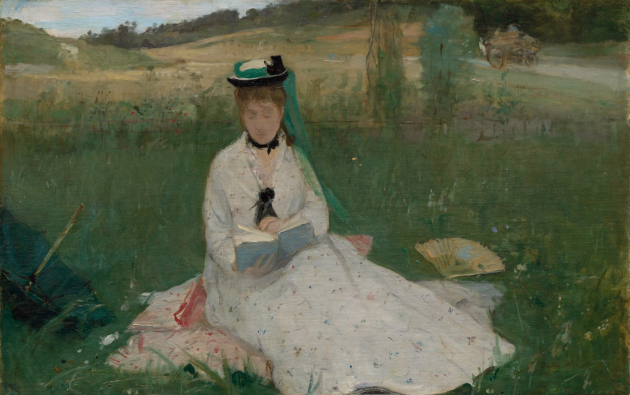 "Berthe Morisot, ""Reading (The Green Umbrella), 1873. Oil on fabric, 18 1/8 × 28 1/4 in. (46 × 71.8 cm). Cleveland Museum of Art"