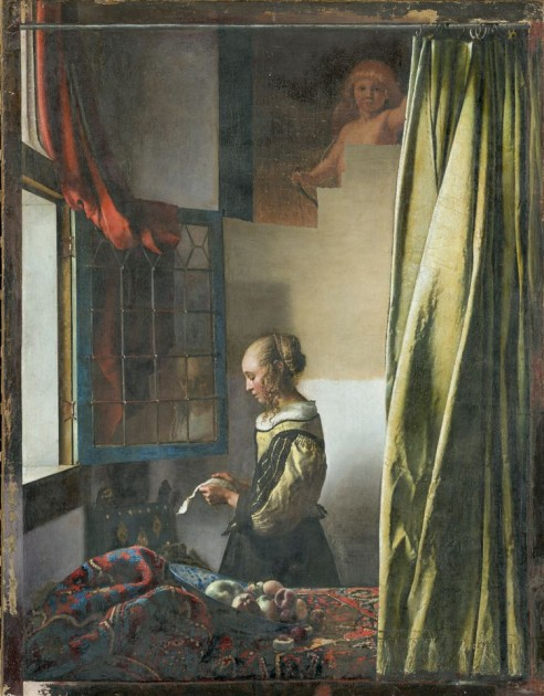 "Vermeer, ""Girl at the Window,"" (with recent restoration revealing image of Cupid), c. 1658"