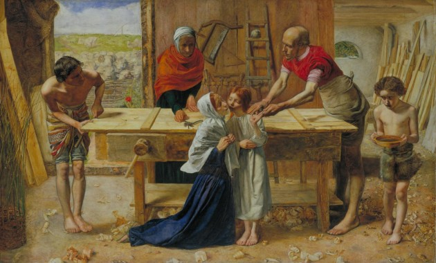 "John Everett Millais, ""Christ in the House of His Parents (The Carpenter's Shop),"" 1849-50. Oil on Canvas, approx. 2.8' x 4.5'. Tate Museum"
