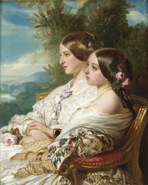 "Frans Xaver Winterhalter, ""Queen Victoria and Her Cousin, the Duchess of Nemours"" (1852). Oil on canvas, 26.2"" x 20"", Royal Collection."