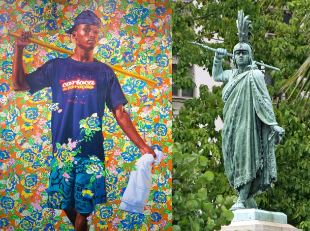 "Left: Kehinde Wiley, ""Indio Cuauhtemoc: The World Stage, Brazil,"" 2017. Right: Monument to the Indio Cuauhtemoc in Rio de Janeiro. Image courtesy Wikipedia"