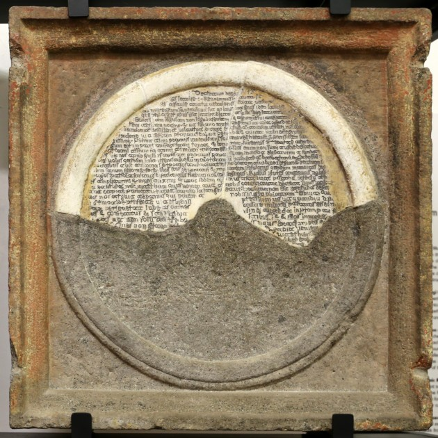 Annio da Viterbo, fragmentary inscription in alabaster, late 15th century (Museo Civico, Viterbo)