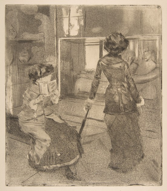 "Edgar Degas, ""Mary Cassatt at the Louvre: The Etruscan Gallery,"" 1879-80. Soft-ground etching, drypoint, aquatint, and etching (Metropolitan Museum of Art). Image in public domain."