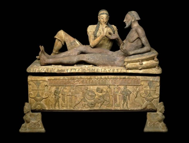 Penelli Sarcophagus, c. 1873 (forgery made to appear in the style of 550-525 BCE). British Museum.