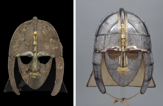 Sutton Hoo helmet (right) with reconstruction (left). Early 7th century, iron and tinned copper alloy helmet, consisting of many pieces of iron, now built into a reconstruction, 31.8 x 21.5 cm (as restored)