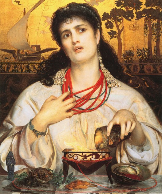 Frederick Sandys, Medea, 1868. Oil on composite wood with gold leaf, 24.5 x 18.25 in. (Birmingham Museum of Art)