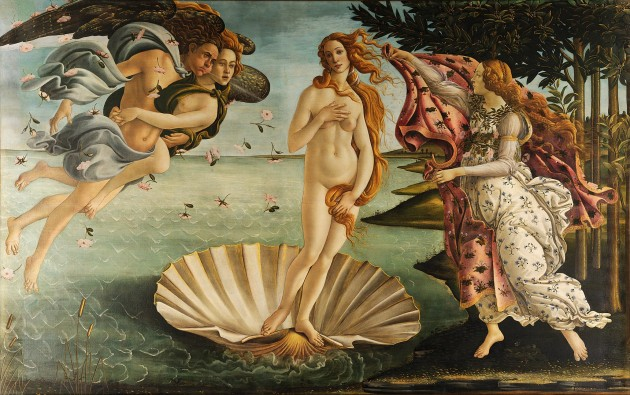 "Botticelli, ""Birth of Venus,"" ca. 1484-86.  Tempera on canvas. 172.5 cm × 278.9 cm (67.9 in × 109.6 in). Uffizi, Florence (image via Wikipedia)"