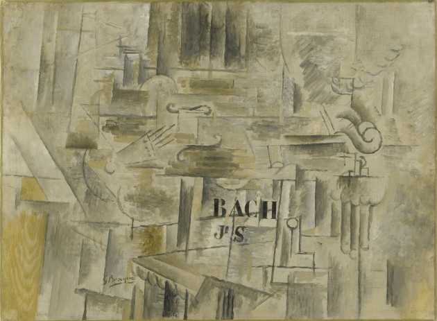 "Braque, ""Homage to J S Bach,"" winter 1911-12. Oil on canvas, 21 1/4 x 28 3/4"" (54 x 73 cm). Accessed 26 February 2021 at https://www.moma.org/collection/works/116275"