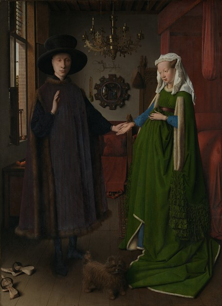 """Jan Van Eyck, """"The Arnolfini Portrait, 1432. Oil on oak, 82.2 x 60 cm. Photo © Tate. Available through Creative Commons License CC-BY-NC-ND 3.0 (Unported)"""