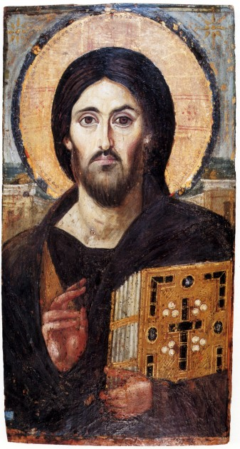 Christ, Monastery of Saint Catherine at Mount Sinai, 6th century. 33.1 x 19.4 in (84 x 45.5 cm, encaustic painting (pigments and wax). Image courtesy Wikipedia
