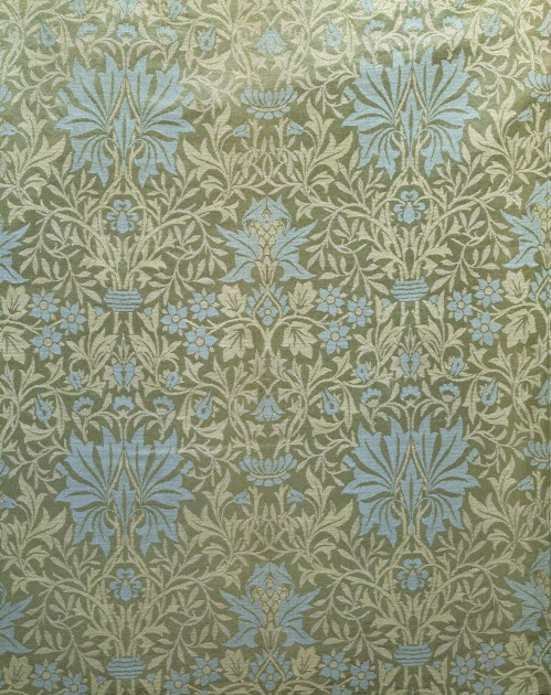 """William Morris, """"Flower Garden,"""" 1879. Furnishing fabric of Jacquard-woven silk and wool, made at Queen Square Workshop and at Merton Abbey Workshop, England. © Victoria and Albert Museum, London. Used with permission."""