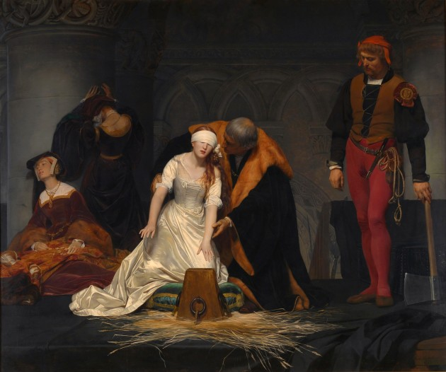 """Paul Delaroche, """"The Execution of Lady Jane Grey,"""" 1834. Oil on canvas, 246 cm × 297 cm (97 in × 117 in). National Gallery, London. Image courtesy Wikipedia"""